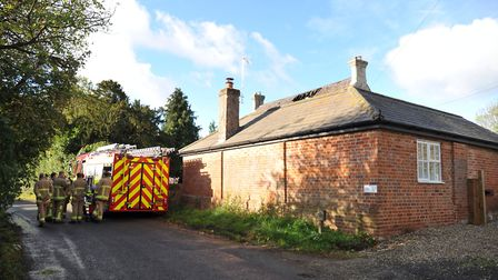Fire crews were called to a blaze in Lindsey Tye overnight. Picture: ARCHANT