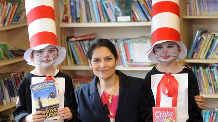 Priti Patel MP runs an annual Get Witham Reading event. Pictured at Powers Hall Junior School in 201