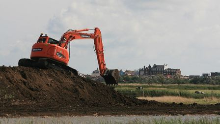 Work under way during the project at Aldeburgh Town Marsh. Picture: WATER MANAGEMENT ALLIANCE