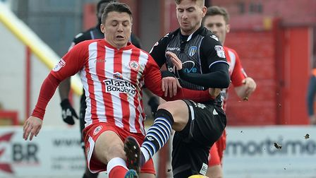 Craig Slater, in action at Accrington Stanley on the opening day of the season, his last U's league