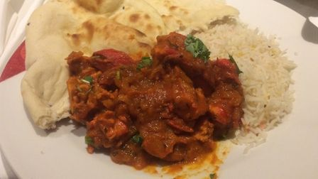 Restaurant review, Curry India, Framlingham. Chicken tikka bhuna with pilau rice and plain naan. Pi