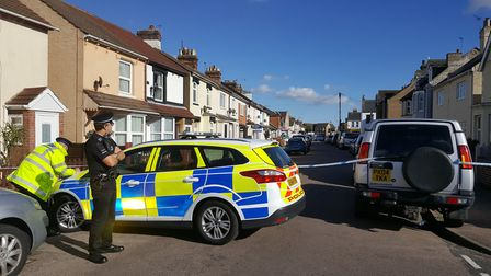 Police at the scene in Cambridge Road, Clacton. Picture: ARCHANT