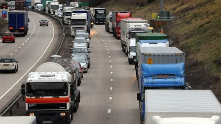 Traffic queueing towards Copdock on the A14 (stock image). Picture: ANDREW PARTRIDGE