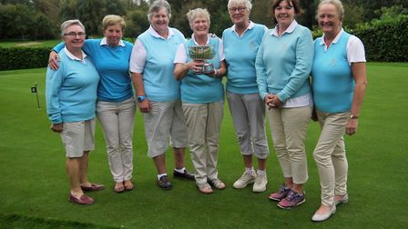 STEARN TROPHY: Fynn Valley's players who won the final against Thorpeness at Haverhill. From left: