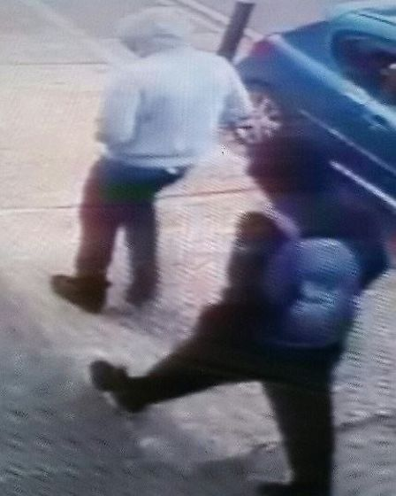 Police would like to speak to these men in connection with an armed robbery. Picture: ESSEX POLICE