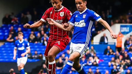 Tristan Nydam pictured in action for Ipswich Town against Bristol City's Bobby Reid. Picture: STEVE