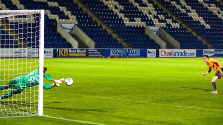Rene Gilmartin saves Joel Rollinson's penalty to give the U's another point from the 2-2 draw agains