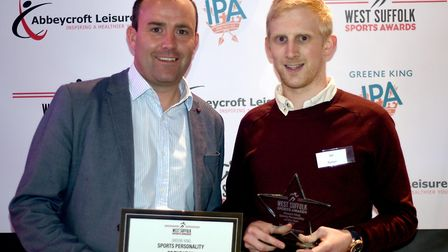 Ian Parker, right, won the Sports Personality of the Year award at the West Suffolk Sports Awards 20