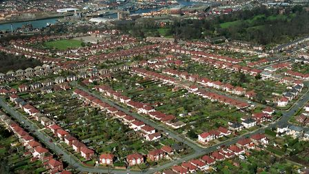 The Rivers Estate, Ipswich, from the air in March 1994, with Medway Road in the foreground, Trent Ro