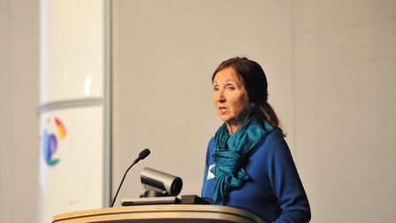 Dr Jane Hawking, carer and first wife of Professor Stephen Hawking speaking at Headway Suffolk's thi