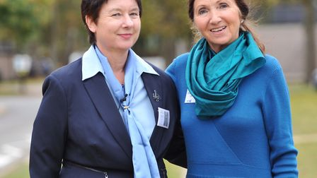 CEO of Headway Suffolk, Helen Fairweather with Dr Jane Hawking. Picture: SARAH LUCY BROWN
