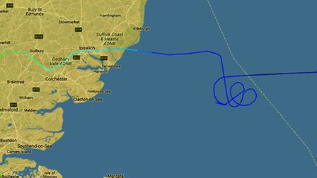 The track on FlightRadar24 of Ryanair flight FR2145, flying from Lithuania to Luton, which has been