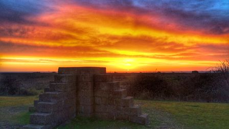 The pyramid of steps, one of the old military structures, captured against a setting sun. Picture: P