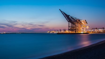 The Port of Felixstowe seen from Landguard. Picture: ANDREW WHINNEY