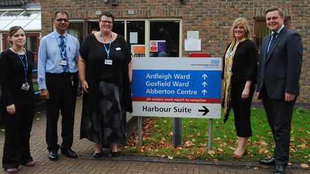 Colchester MP Will Quince visits The Lakes mental health unit in the town. Pictured with Essex Partn