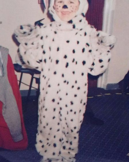 Reece Kerridge dressed as a spotty dog in his younger days. Picture: CONTRIBUTED