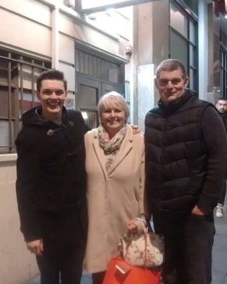 Reece Kerridge with his mum and dad, Mandy and Paul. Picture: CONTRIBUTED