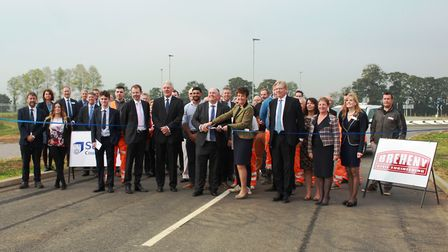County Council leader Colin Noble and Bury St Edmunds MP Jo Churchill open the new Bury Eastern Reli