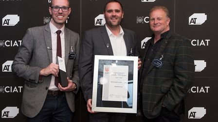 Chris Game, Glen Read and Nick Loomes of Plaice Design with the Alan King Award at the CIAT (Charter