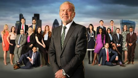Lord Sugar with this year's candidates. Back row James White, Ross Fretten, Jeff Wan, Andrew Brady.