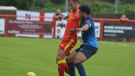 Gareth Heath, holding the ball up, scored in Needham Market's 3-1 win at Harlow Town. Picture: BEN P