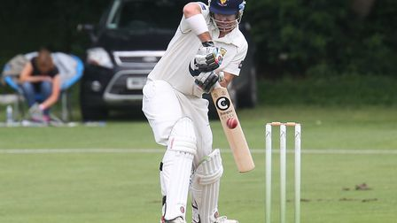 Frinton captain, Kyran Young, batting at Mildenhall during the season. His side finished sixth. Pict