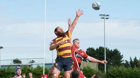 Ipswich YM win a line-out against Stowmarket. Picture: SUSAN PARADINE