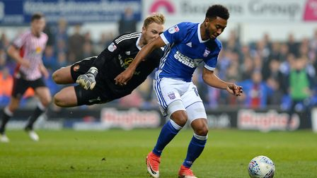 Grant Ward goes around the keeper as he scores Ipswich's fifth against Sunderland. Picture: PAGEPIX
