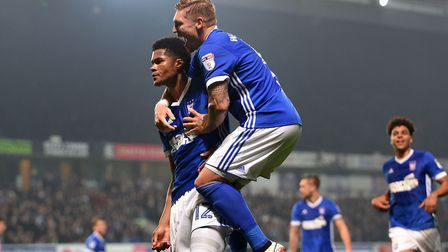Jordan Spence celebrates his goal with Martyn Waghorn. Picture: PAGEPIX LTD
