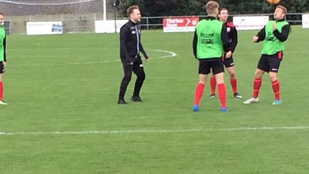 Olly Murs made a surprise visit to Lowestoft to watch some non-league football. Picture: Joe Randles