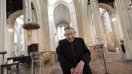 Father Geoffrey Smith has been a priest in Suffolk for 50 years. Father Geoffrey is pictured at St E