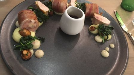 Restaurant review, The Marquis, Layham: Guinea fowl with wild mushrooms and vin jaune sauce.