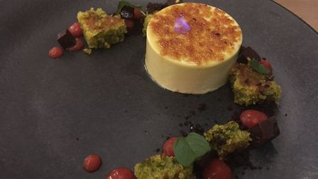 Restaurant review, The Marquis, Layham: Flaming pistachio brulee.