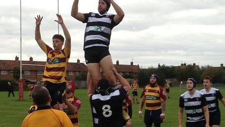 Felixstowe, right, and Ipswich YM contest a line-out at the weekend. Picture: CONTRIBUTED