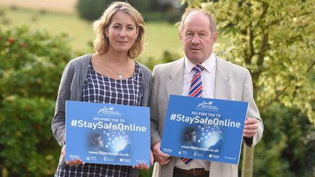 Professor Emma Bond, pictured with Suffolk police and crime commissioner Tim Passmore, at the launch