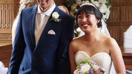 Tess Jewson with her husband Terry on their wedding day in April this year. Photo: HPA UK, contrib