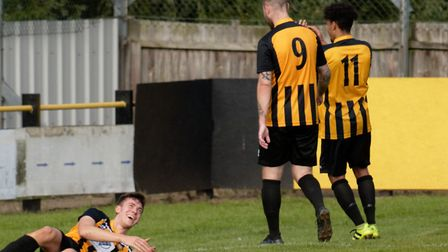 Josh Mayhew, left, netted four times for Stowmarket Town. Picture: PAUL VOLLER