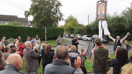 The unveiling of the new sign took place at midday on Saturday. Picture: KING'S HEAD