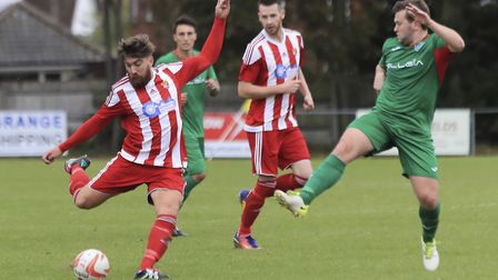 Felxstowe & Walton United's Craig Jennings trys his luck in the home win against Ely City. Photo: St