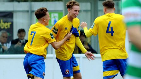 Seventeen-year-old Callum Watson celebrates putting AFC Sudbury in front. Picture: ANDY ABBOTT