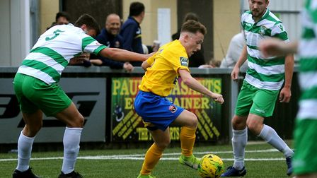 Ollie Dunlop on the ball for AFC Sudbury. Picture: ANDY ABBOTT