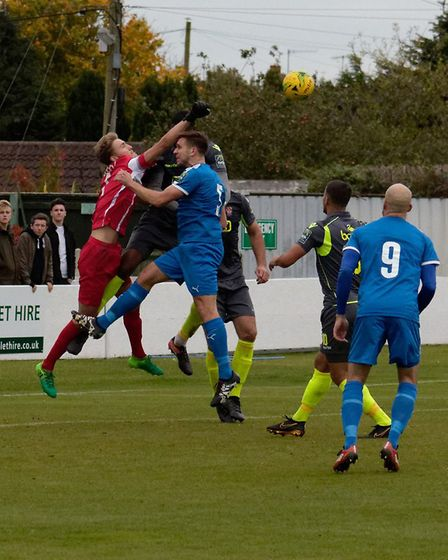 Bostik Premier - Leiston 2 Staines 2 Staines keeper Liam Driscoll punches clear.