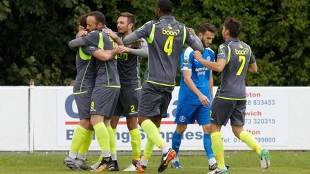 Bostik Premier - Leiston 2 Staines 2 Staines' Elliot Buchanan is congratulated on scoring his secon
