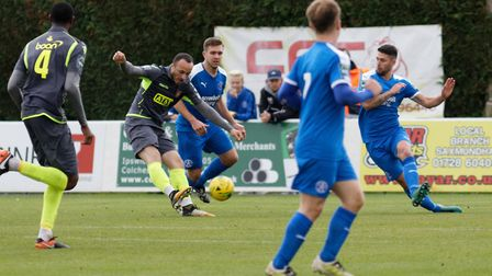 Bostik Premier - Leiston 2 Staines 2 Staines' Elliot Buchanan scores his second goal of the game.