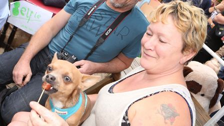 Cathy and Garry Wollnough with their dog Trevor enjoying some samplesPICTURE : SEANA HUGHES