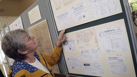 Glynis Buckles looks at some of the displays. Picture: NIGE BROWN.