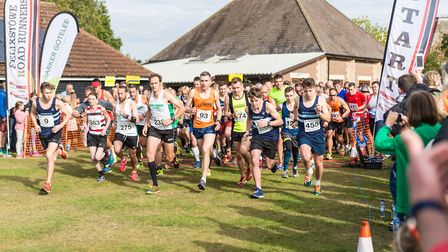 Eventual winner Tom Adams (No. 9), far right, gets off to a good start at the Martlesham 10K. Pictu