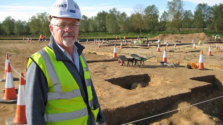 Dr Richard Newman at the archaeological excavations being carried out from Bawdsey to Bramford, as p