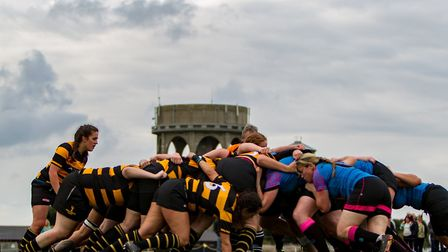 The Southwold Swallows and Woodbridge Amazons scrum down. Picture: SIMON BALLARD