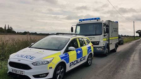 Bomb disposal teams attending an incdient in Norton near Stowmarket. Picture: SUFFOLK CONSTABULARY